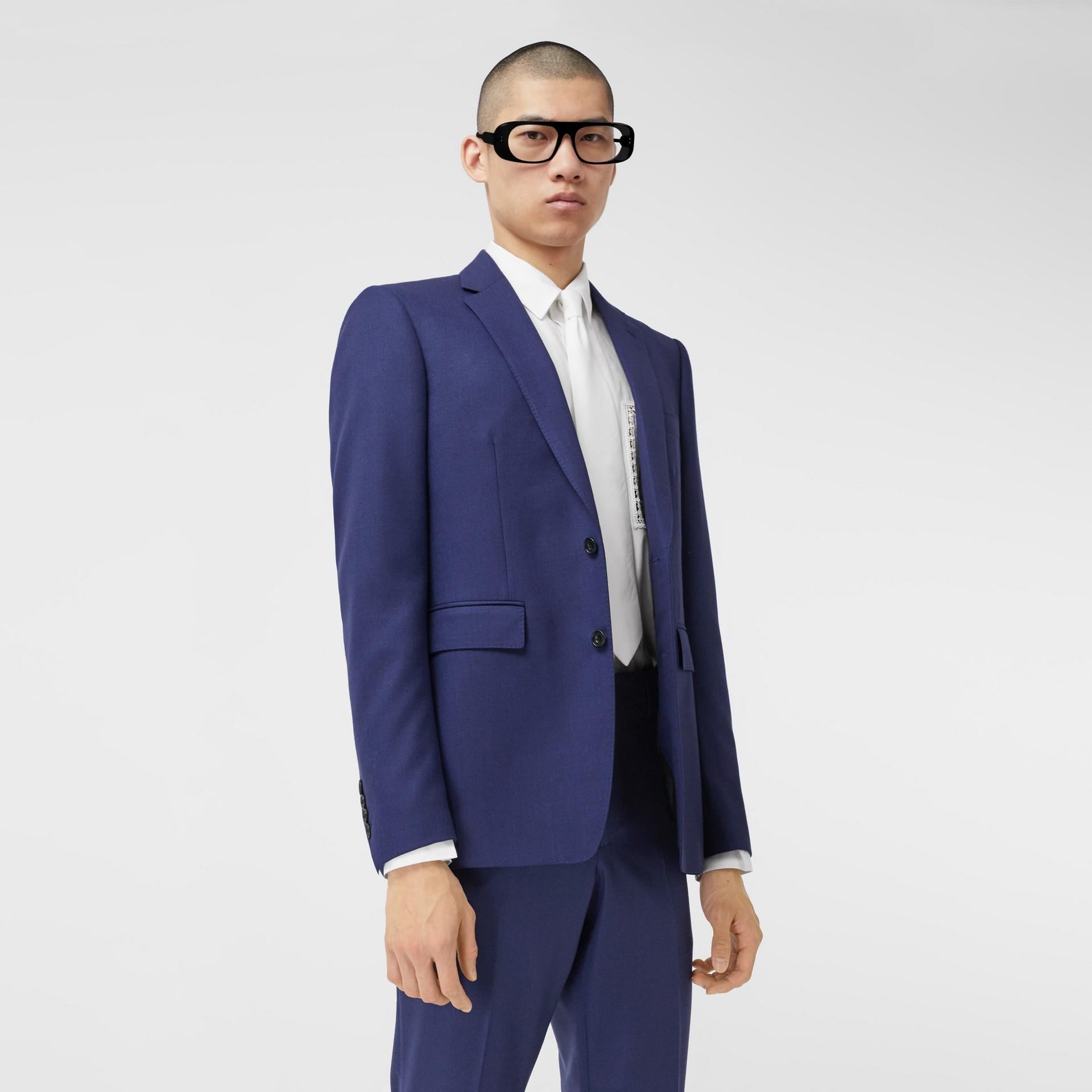 Классический пиджак из шерсти с узором «птичий глаз» (Насыщенный Темно-синий) - Для мужчин | Burberry - изображение 0