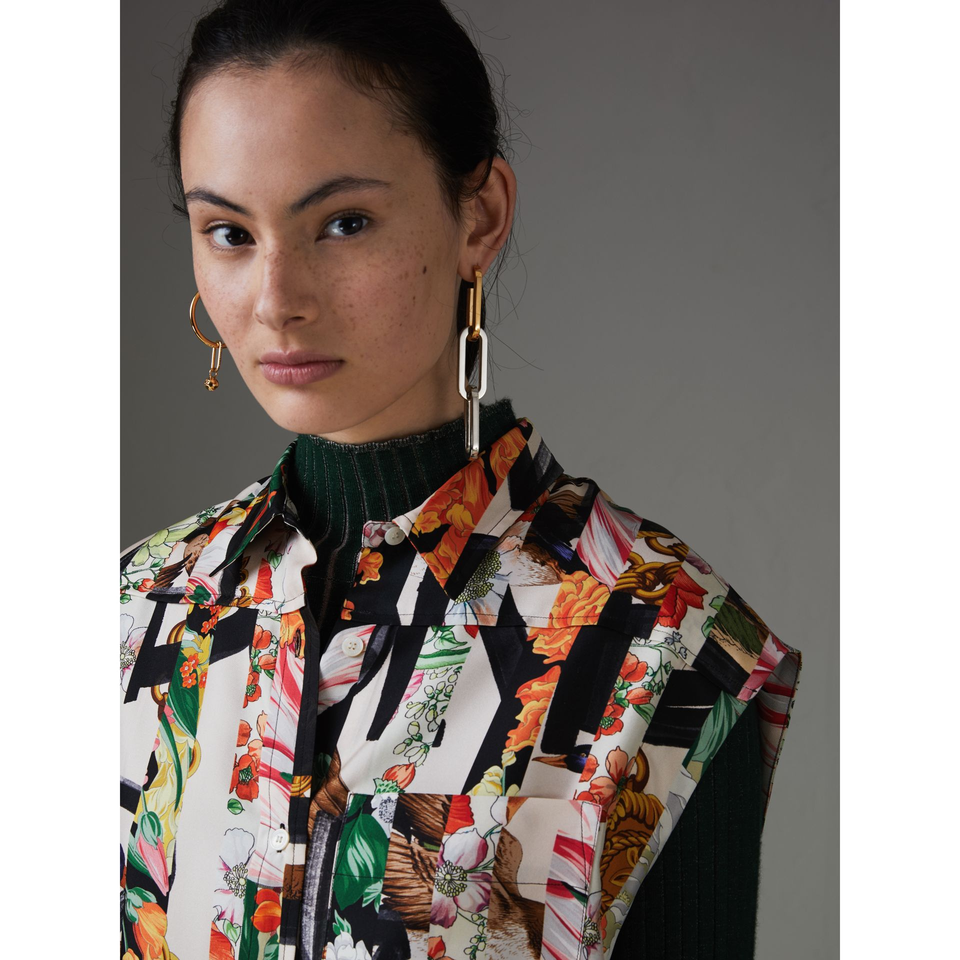 Archive Scarf Print Silk Sleeveless Shirt in Multicolour - Women | Burberry United Kingdom - gallery image 1