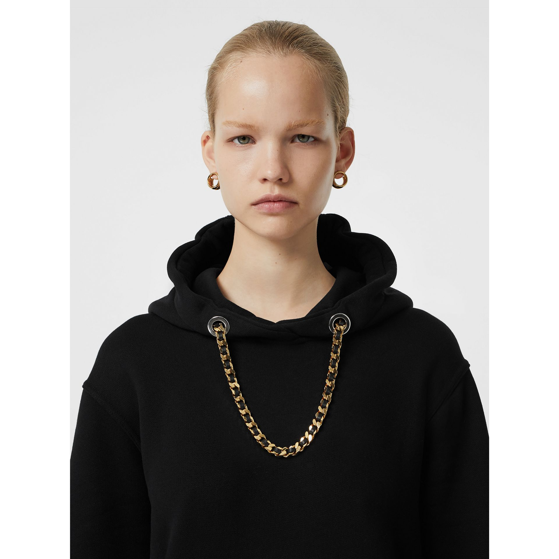 Chain Detail Cotton Oversized Hoodie in Black - Women | Burberry Hong Kong - gallery image 1