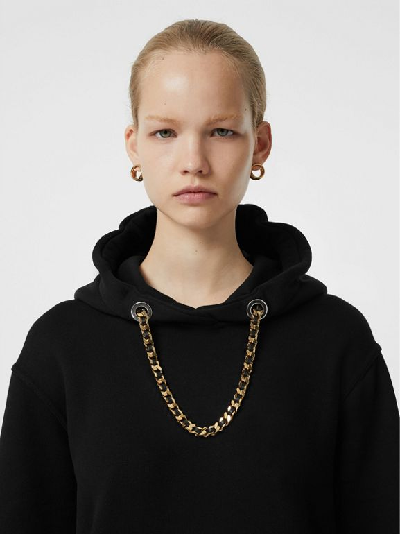 Chain Detail Cotton Oversized Hoodie in Black - Women | Burberry United Kingdom - cell image 1