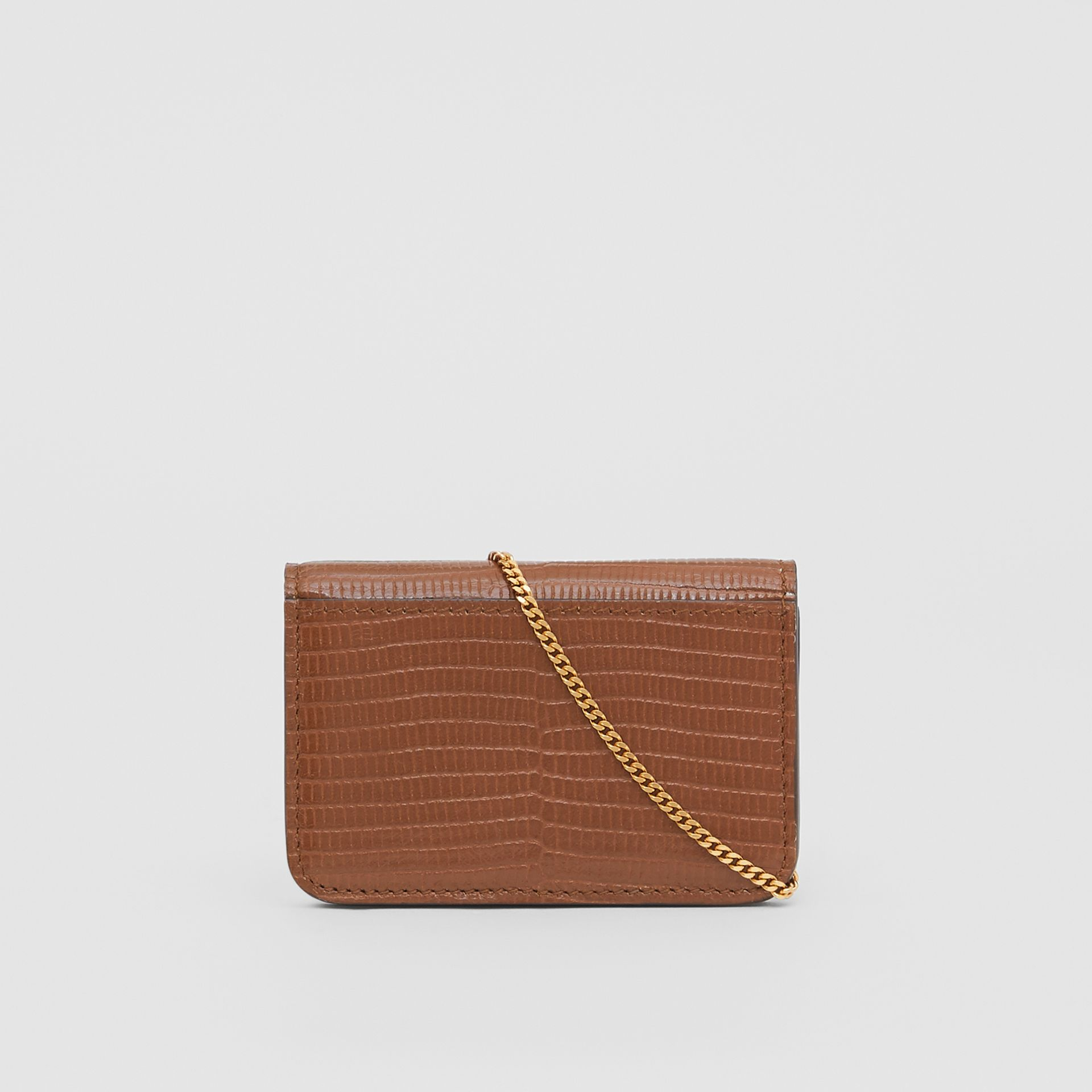 Embossed Deerskin Card Case with Chain Strap in Tan - Women | Burberry United Kingdom - gallery image 6