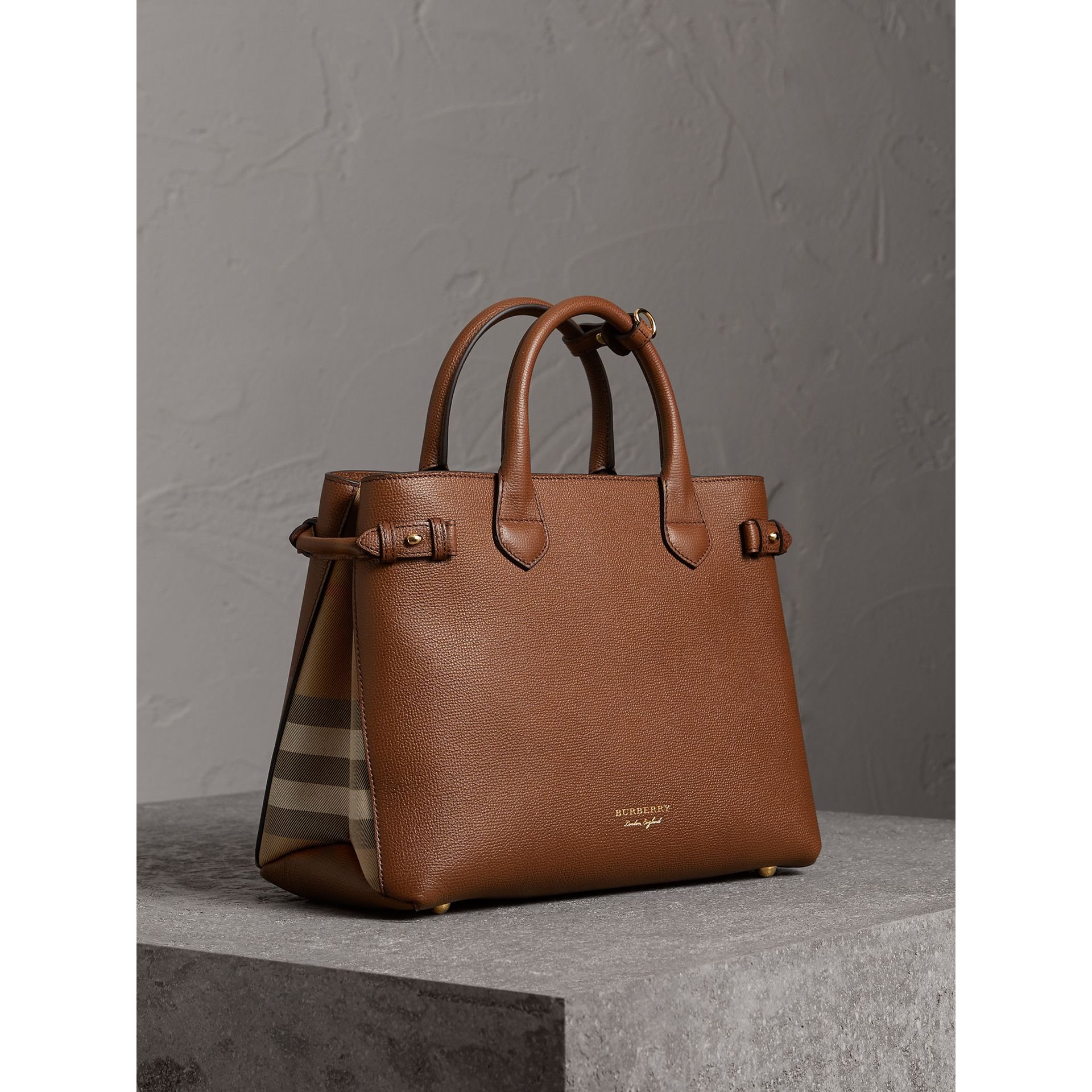 The Medium Banner in Leather and House Check in Tan - Women | Burberry Australia - gallery image 0