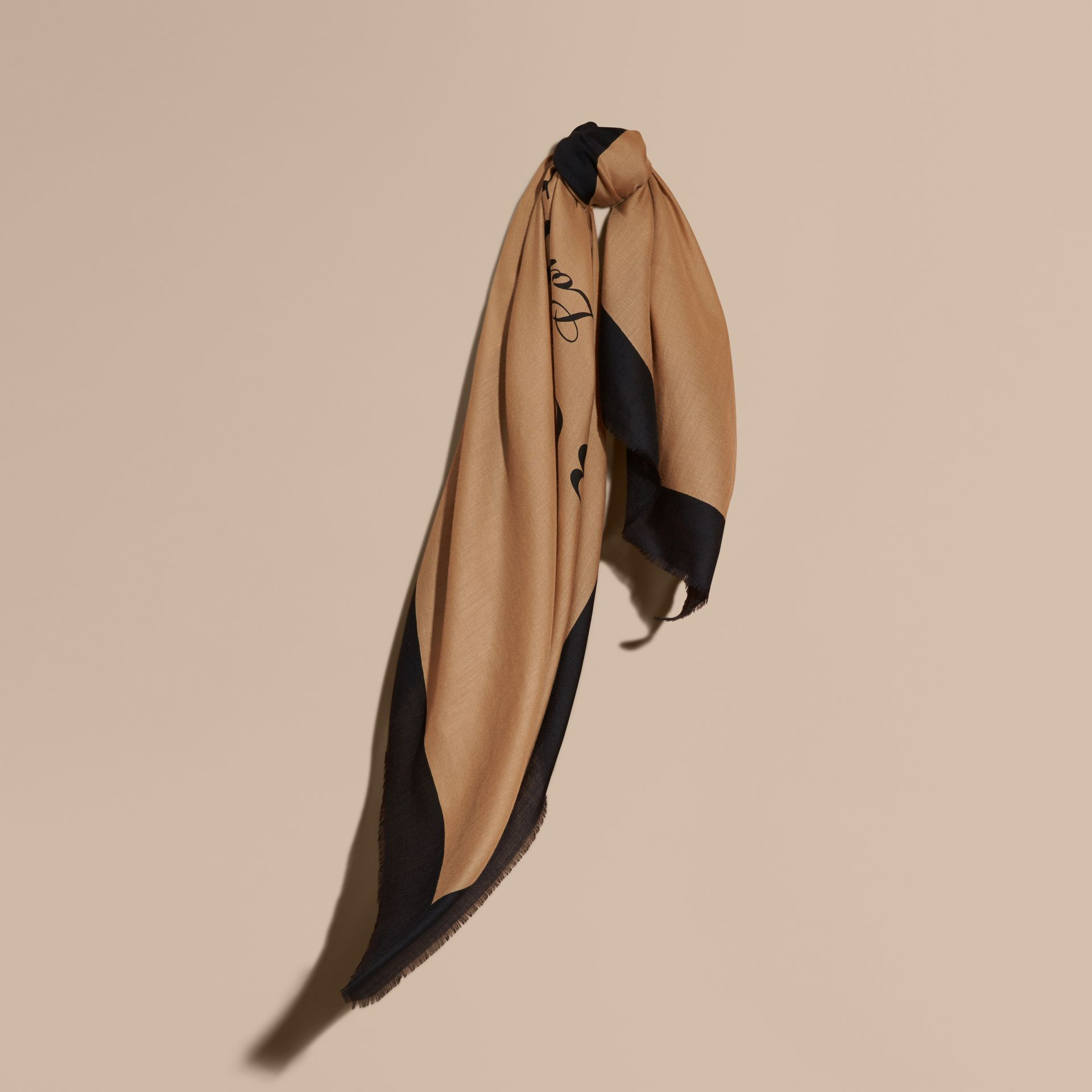 Camel/black Burberry Print Cashmere Scarf - gallery image 1