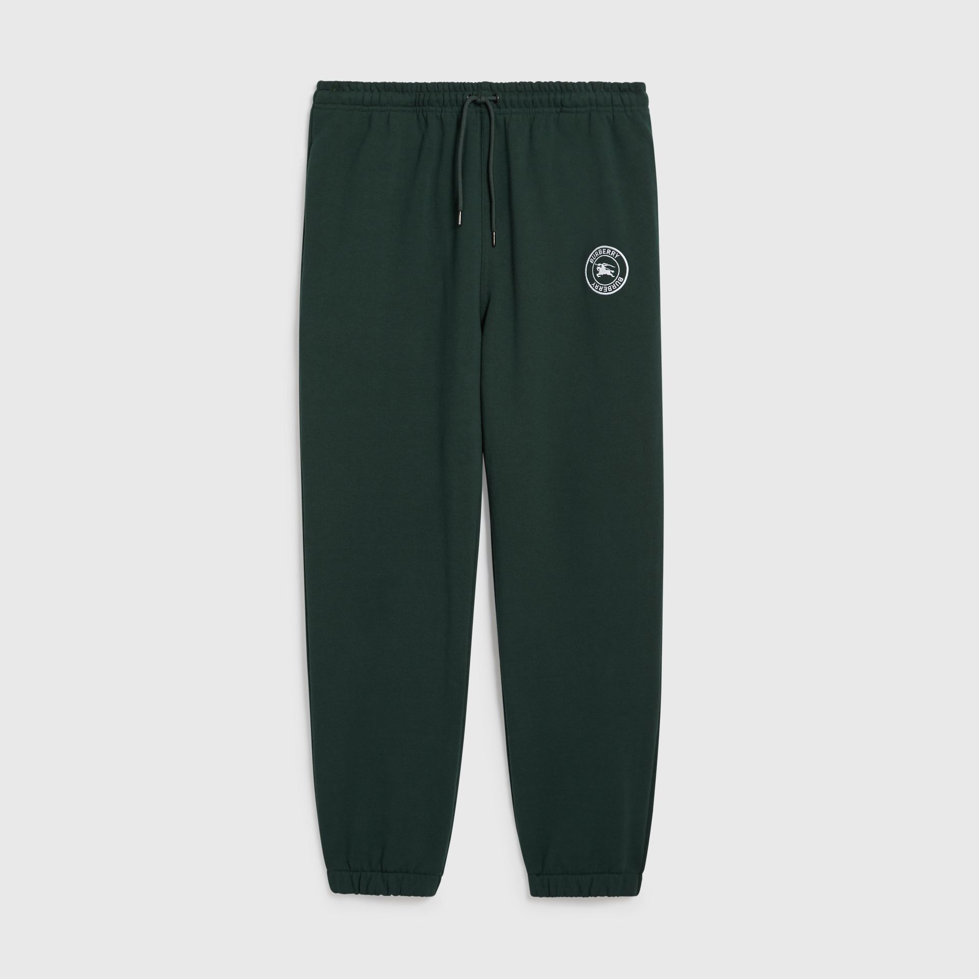 Embroidered Logo Jersey Trackpants in Forest Green - Men | Burberry Australia - gallery image 3