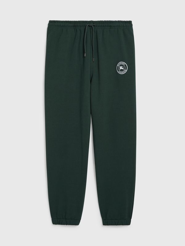 Embroidered Logo Jersey Trackpants in Forest Green - Men | Burberry United Kingdom - cell image 3