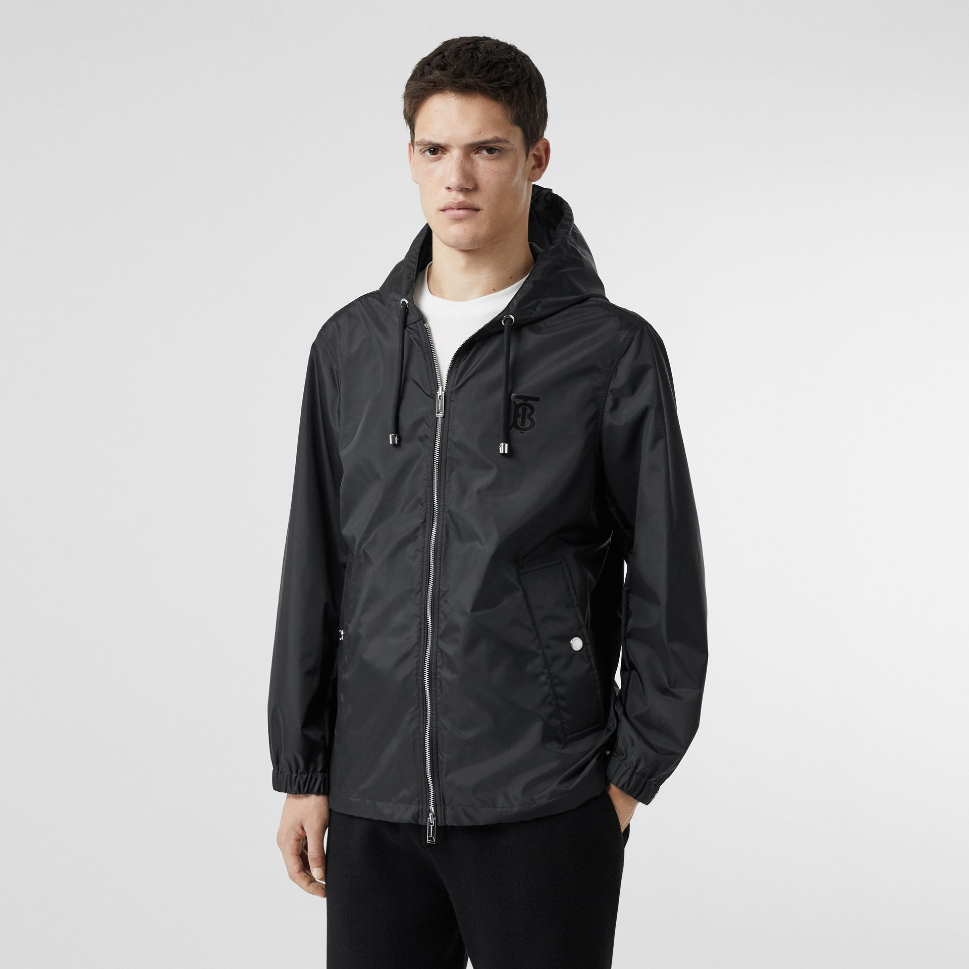 Monogram Motif Lightweight Hooded Jacket in Black - Men | Burberry Canada - gallery image 5