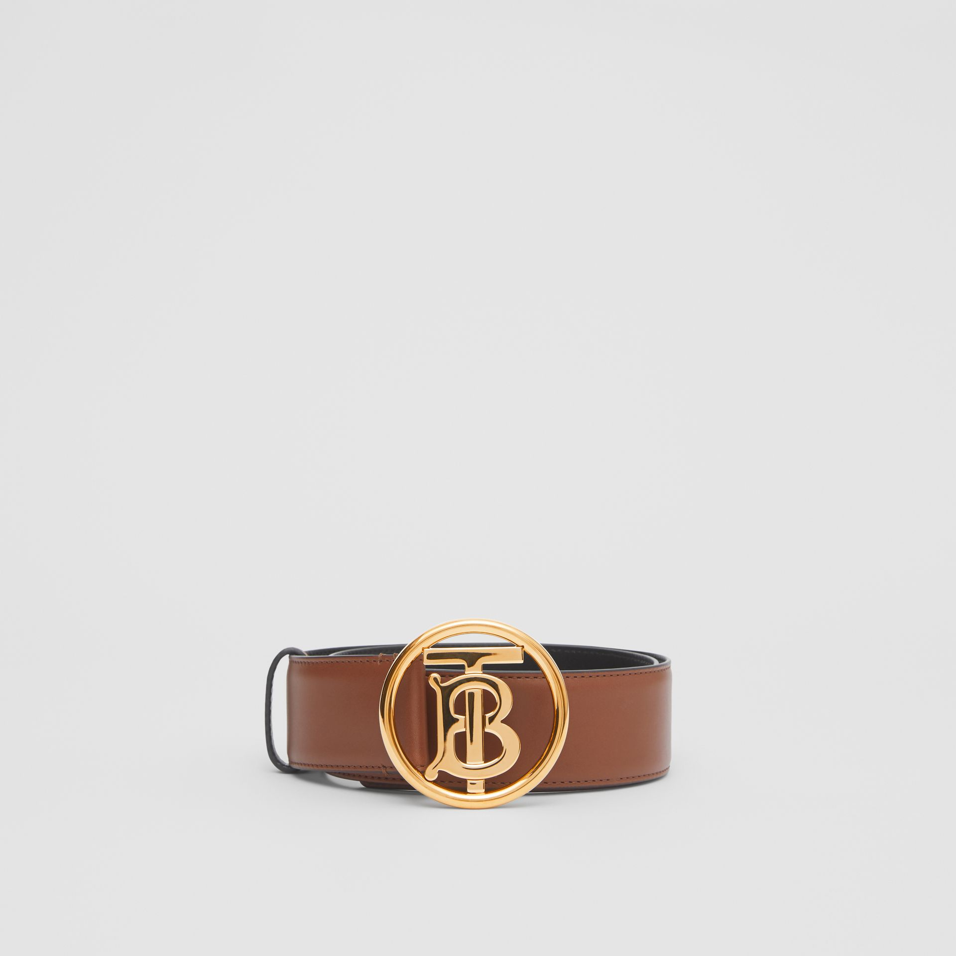 Monogram Motif Leather Belt in Tan/antique Dark Brass - Women | Burberry United Kingdom - gallery image 2