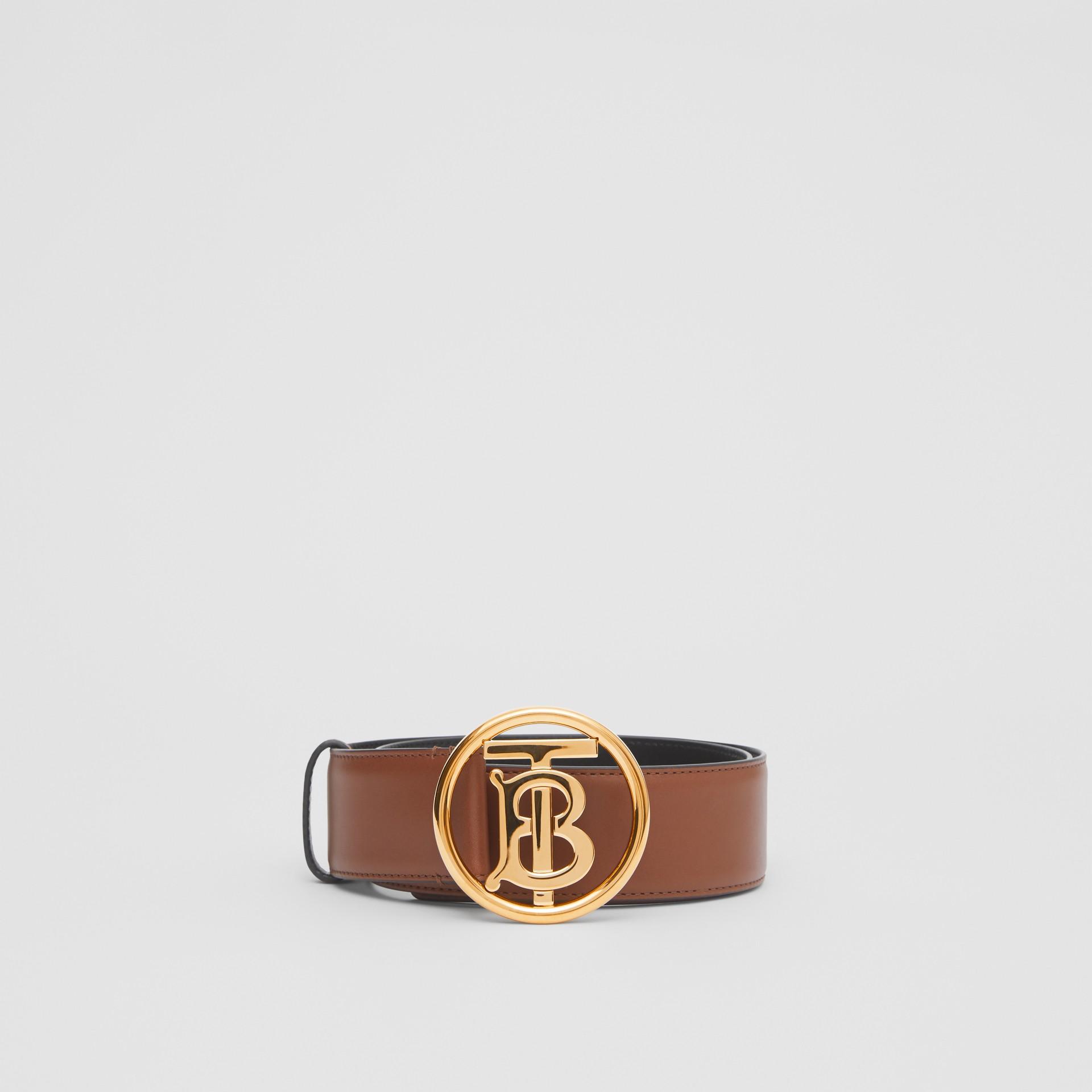 Monogram Motif Leather Belt in Tan/antique Dark Brass - Women | Burberry Canada - gallery image 2