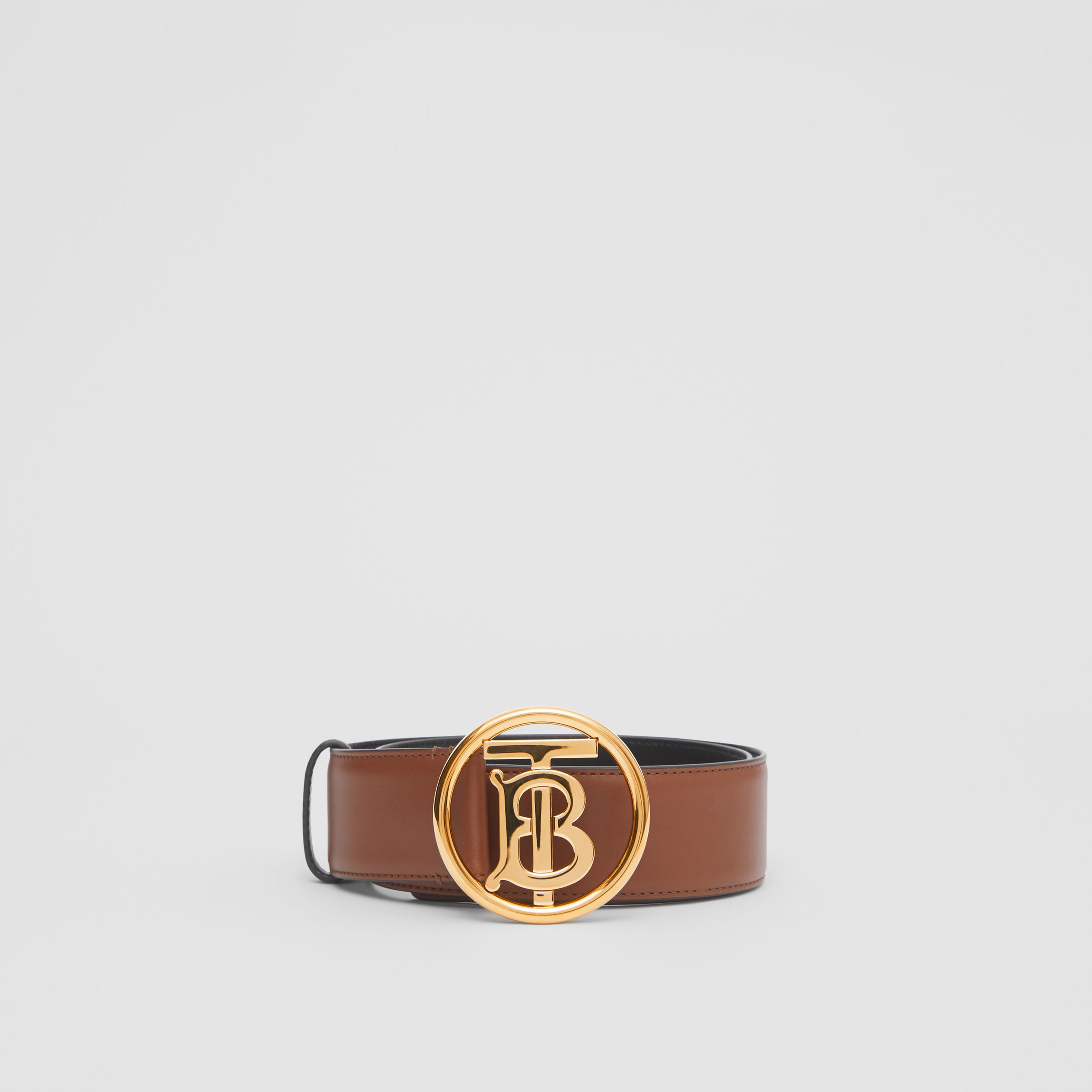 Monogram Motif Leather Belt in Tan/antique Dark Brass | Burberry - 3