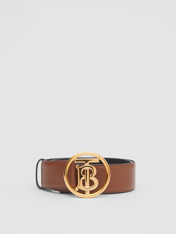 Monogram Motif Leather Belt in Tan/antique Dark Brass - Women | Burberry United Kingdom - cell image 2