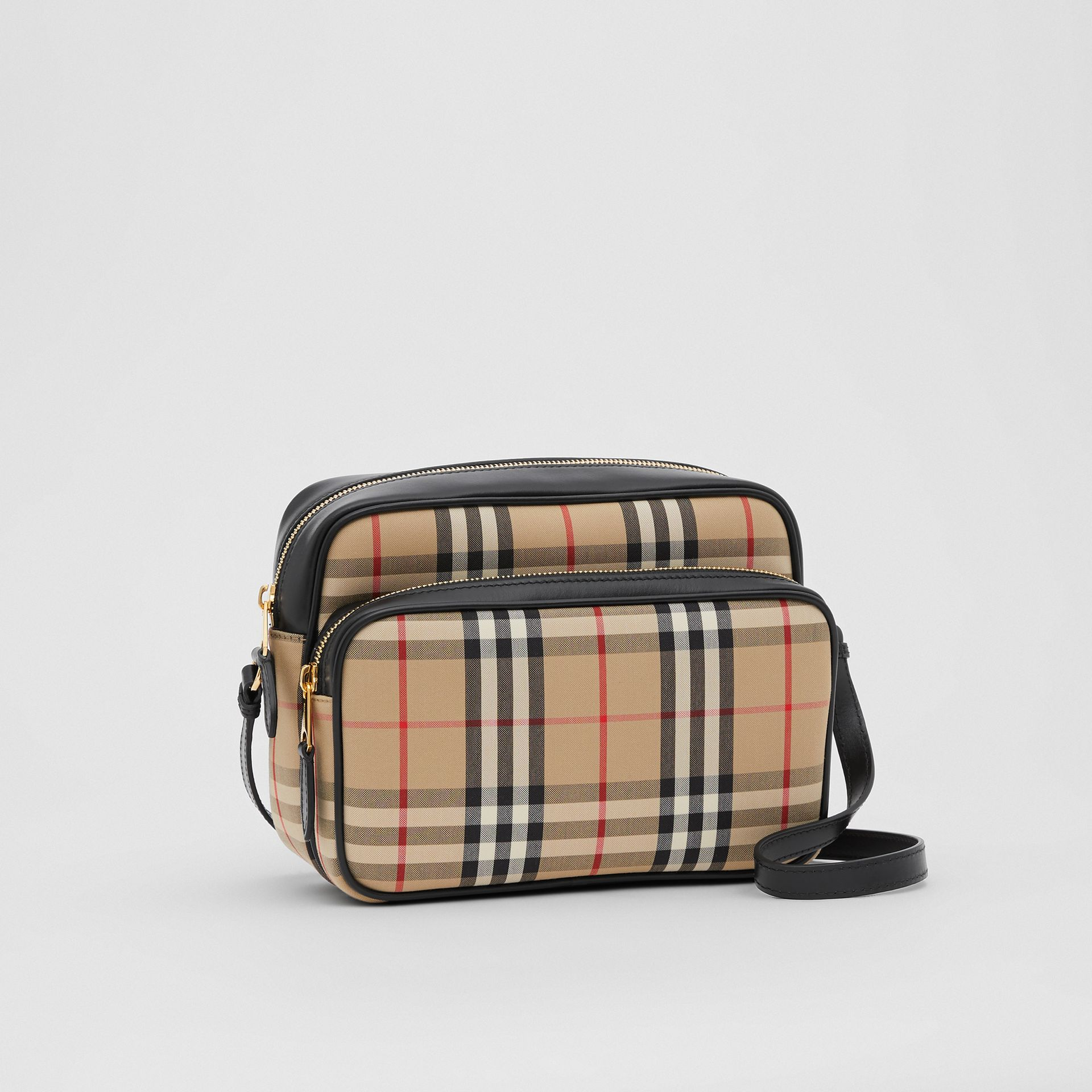 Medium Vintage Check and Leather Camera Bag in Archive Beige - Women | Burberry - gallery image 6