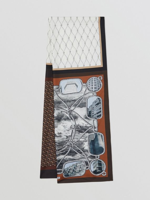 Rigging, Net and Monogram Print Silk Scarf in Dark Mocha