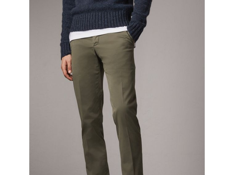Slim Fit Stretch Cotton Chinos in Slate Green - Men | Burberry Canada - cell image 4