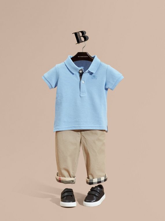 Cotton Piqué Polo Shirt Light Blue