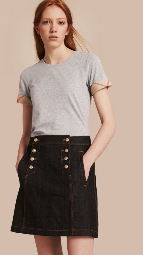 Pale grey melange Check Cuff Stretch Cotton T-Shirt Pale Grey Melange - Image 1