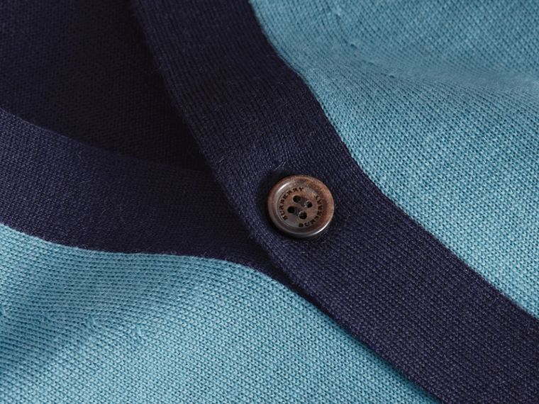 V-neck Two-tone Merino Wool Cardigan - cell image 1