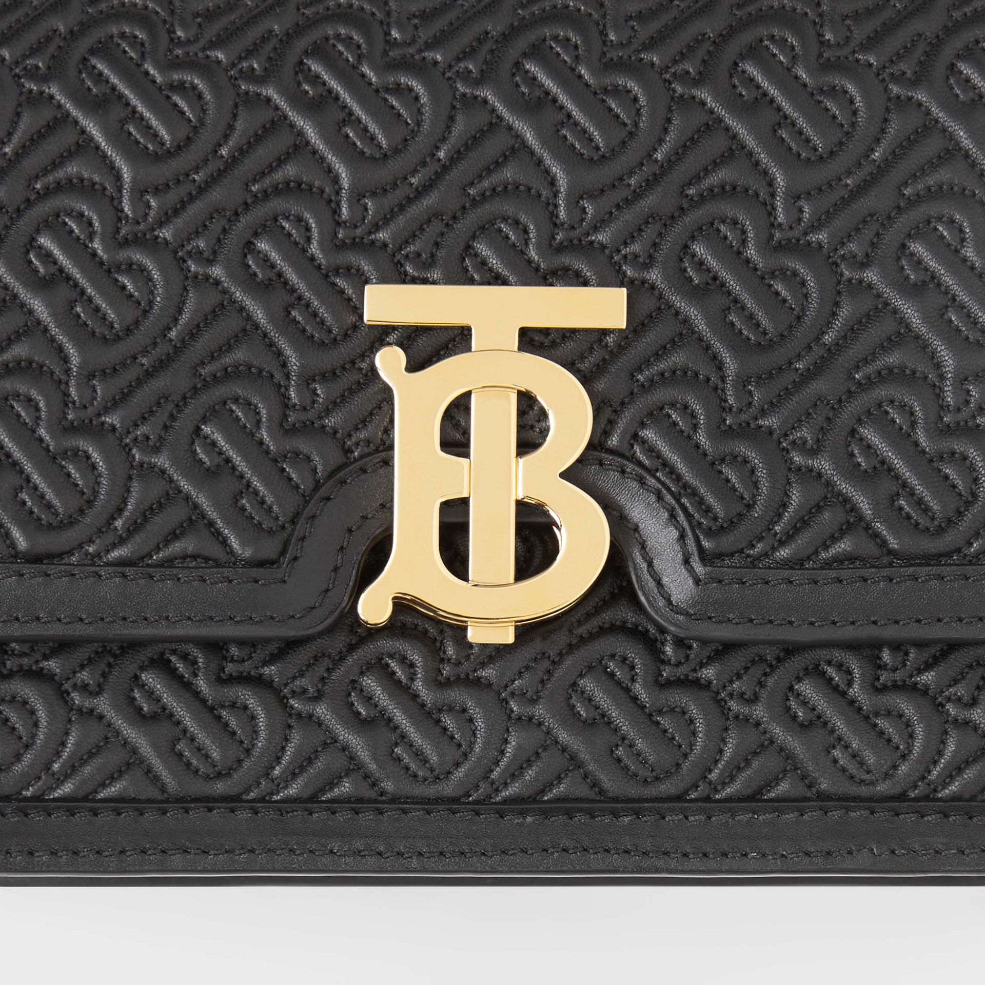 Small Quilted Monogram Lambskin TB Bag in Black - Women | Burberry United States - gallery image 1