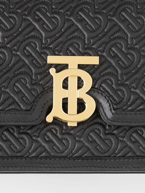 Small Quilted Monogram Lambskin TB Bag in Black - Women | Burberry United States - cell image 1