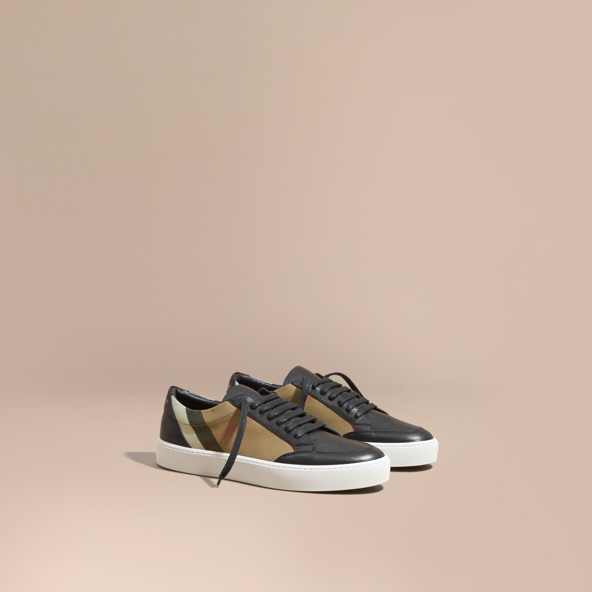 Check Detail Leather Trainers in House Check/black - Women | Burberry Canada - gallery image 1