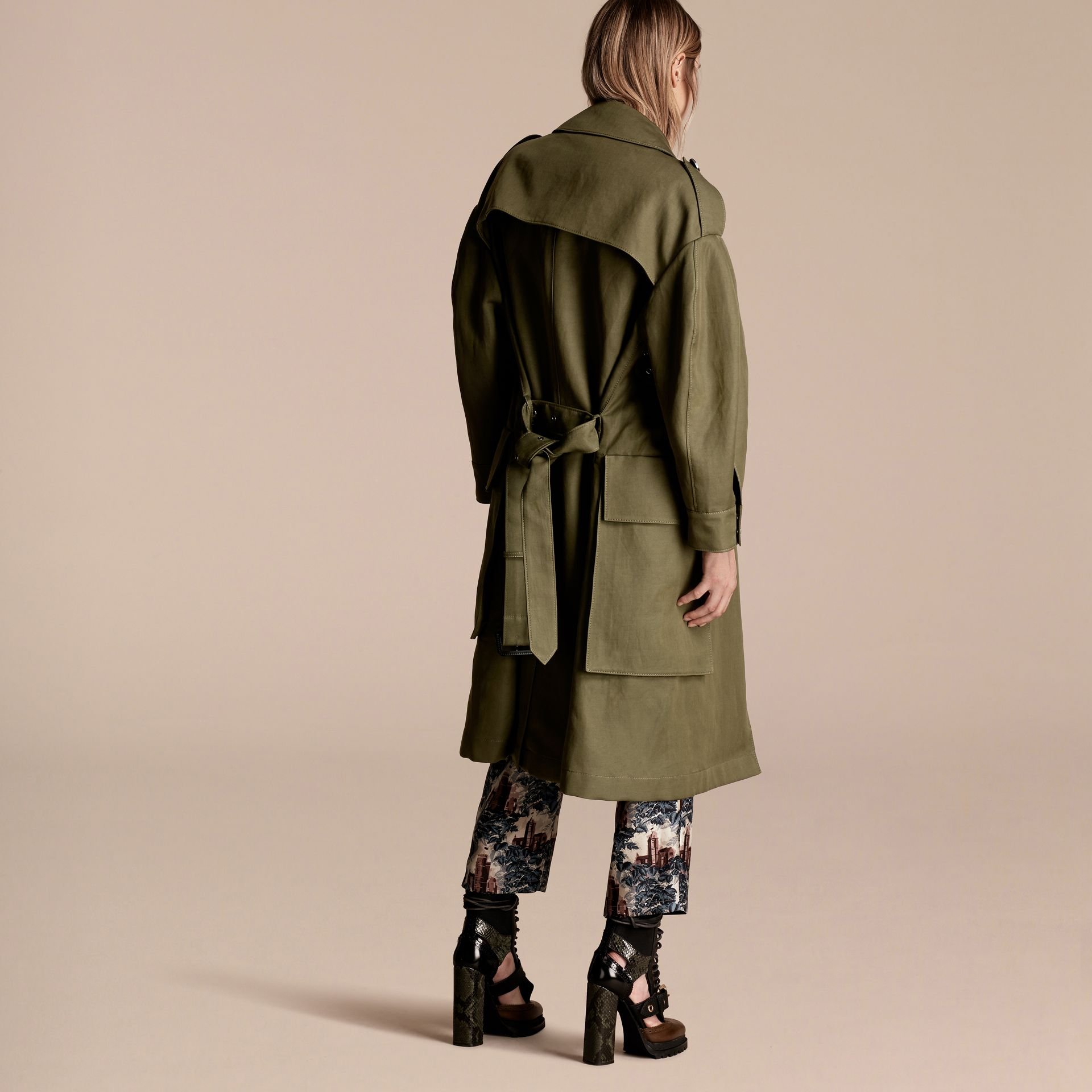 Military green Longline Ramie Cotton Wrap Coat - gallery image 3