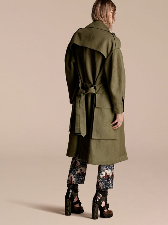 Military green Longline Ramie Cotton Wrap Coat - cell image 2