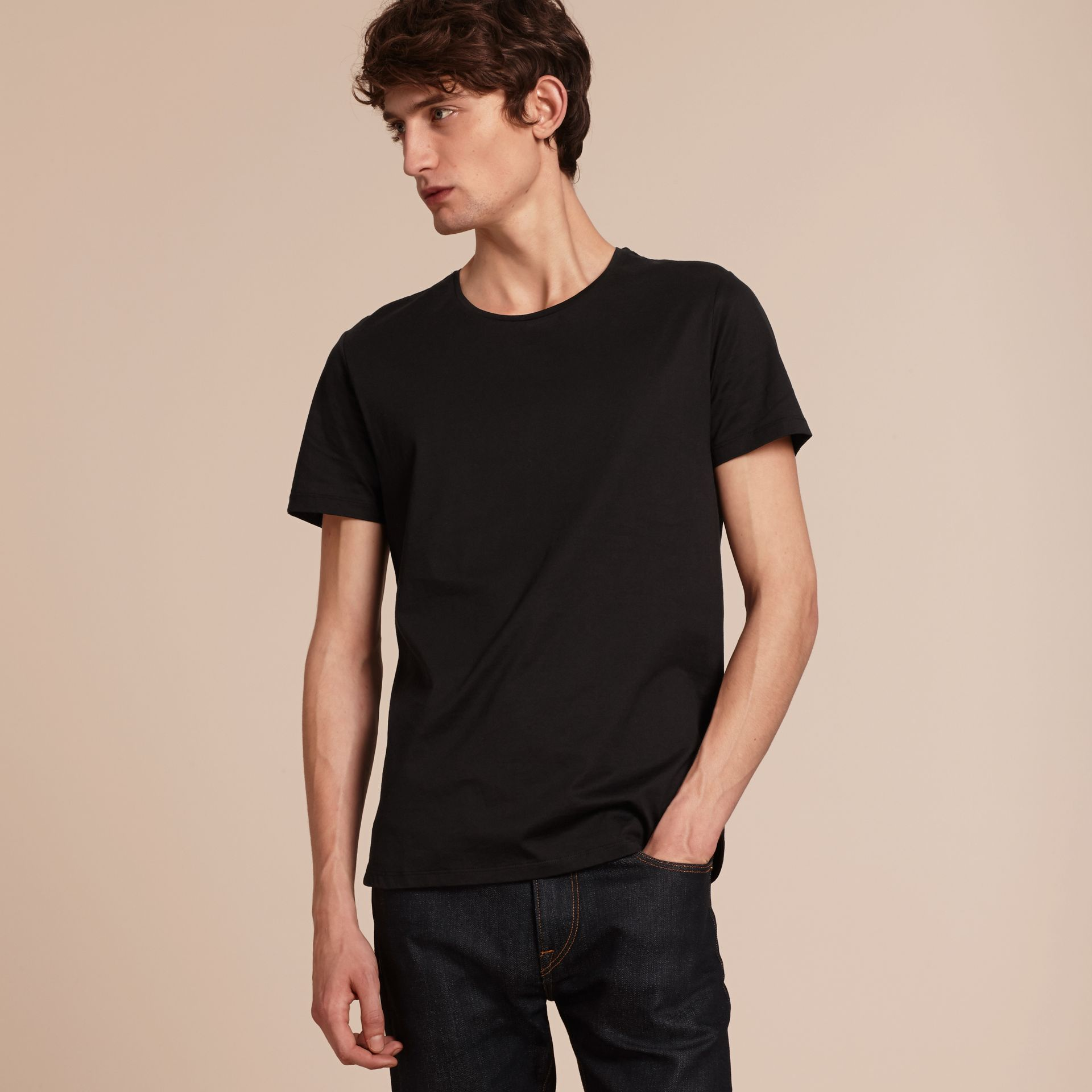 Crew Neck Cotton T-shirt in Black - Men | Burberry - gallery image 6