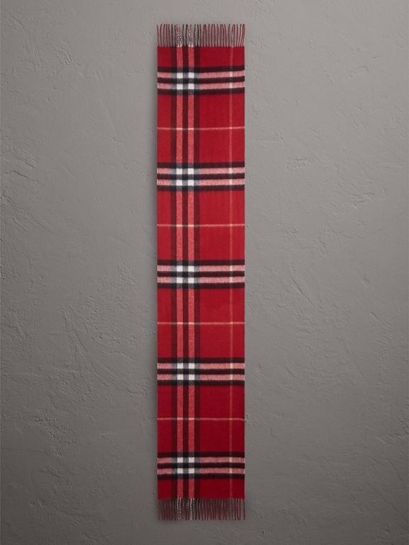 Reversible Metallic Check Cashmere Scarf in Parade Red | Burberry - cell image 1