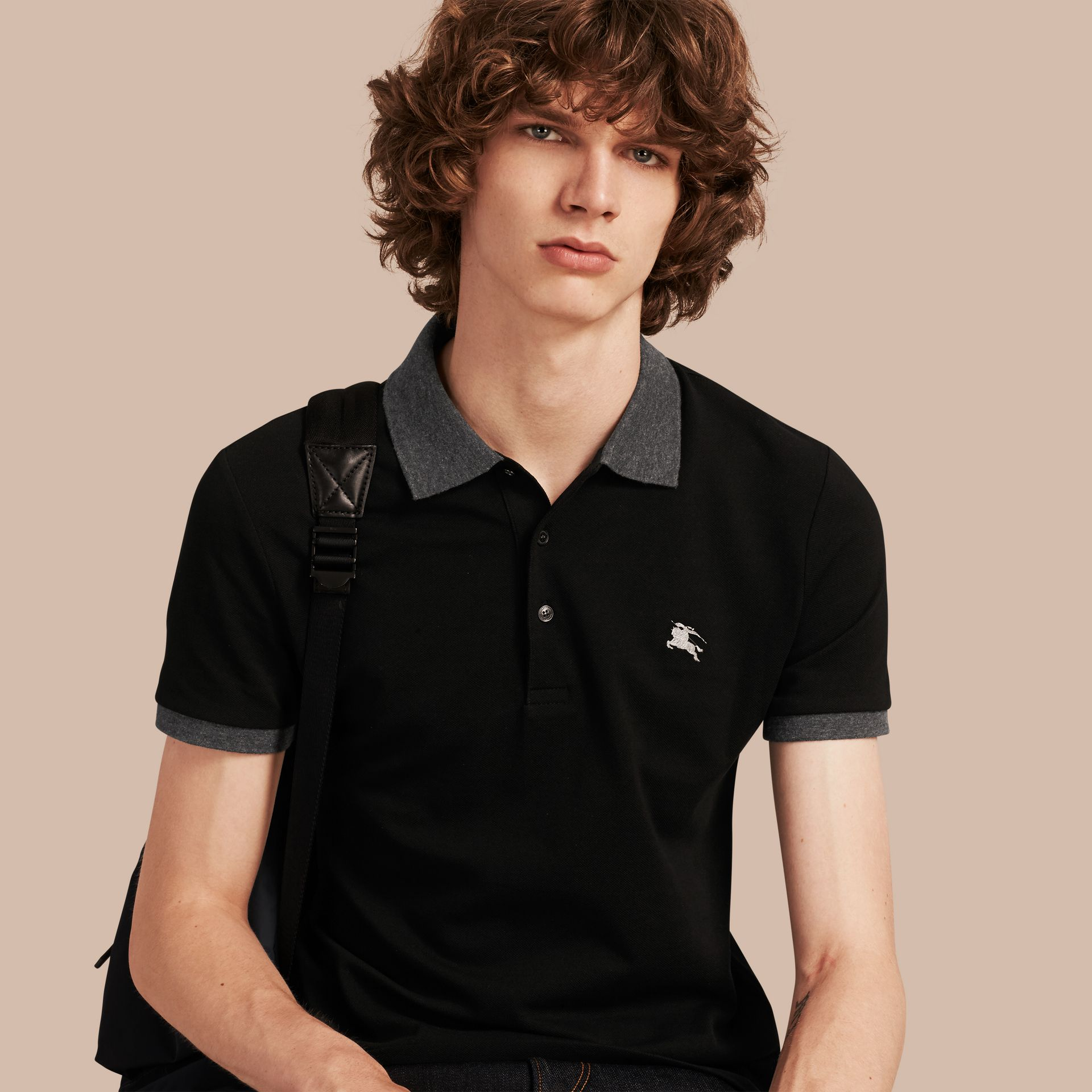Black Contrast Colour Detail Cotton Piqué Polo Shirt Black - gallery image 1
