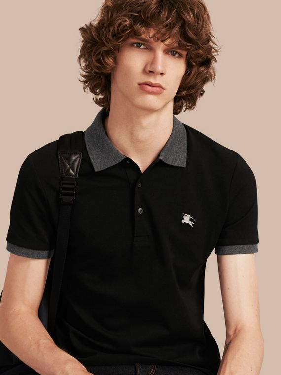 Contrast Colour Detail Cotton Piqué Polo Shirt Black