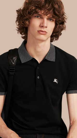 Contrast Colour Detail Cotton Piqué Polo Shirt