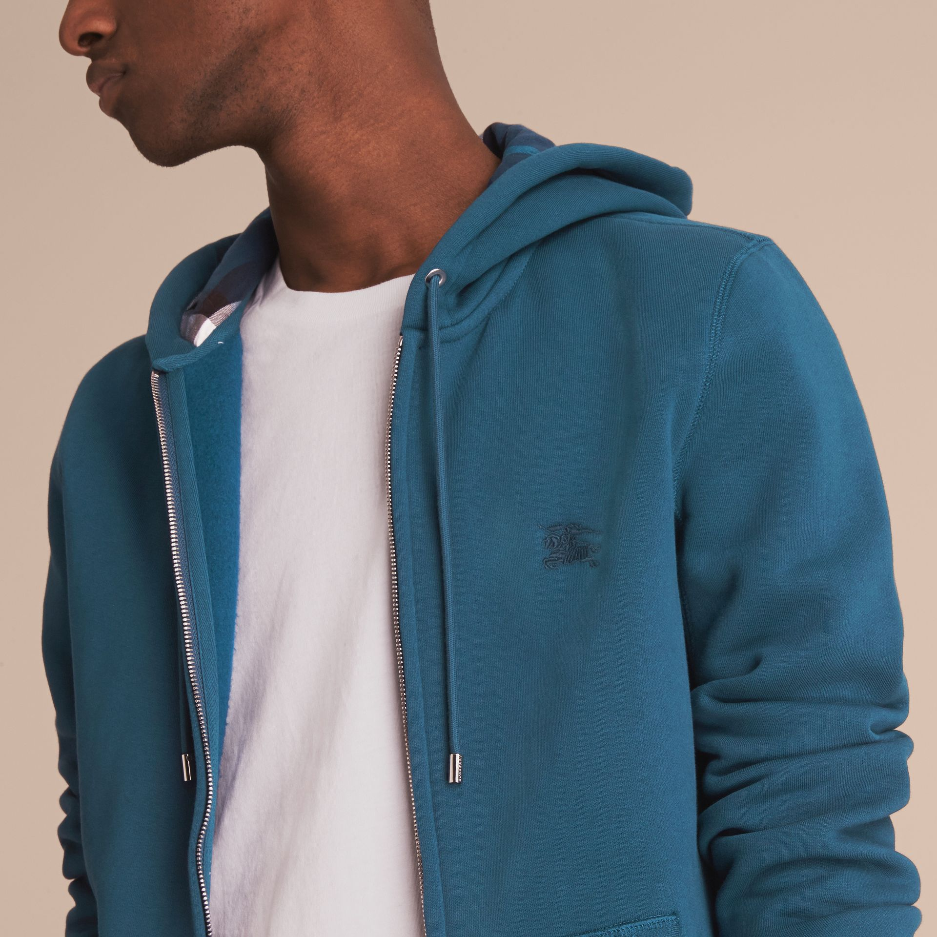 Hooded Cotton Jersey Top in Mineral Blue - Men | Burberry - gallery image 5