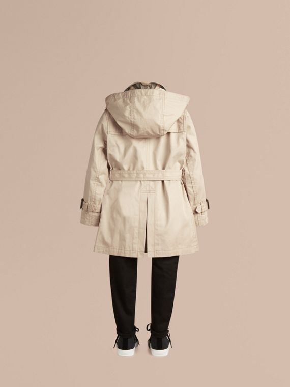Hooded Cotton Twill Trench Coat - Boy | Burberry Australia - cell image 3