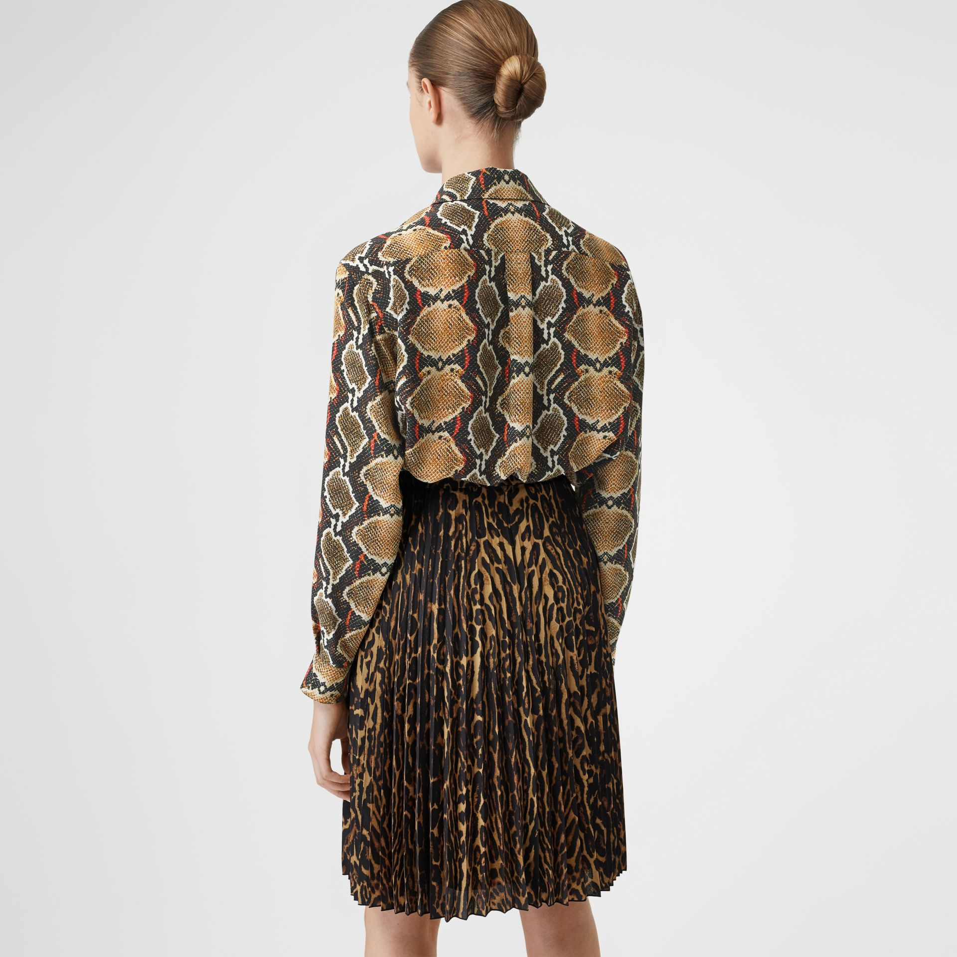 Python Print Silk Shirt in Soft Cocoa - Women | Burberry United Kingdom - gallery image 2
