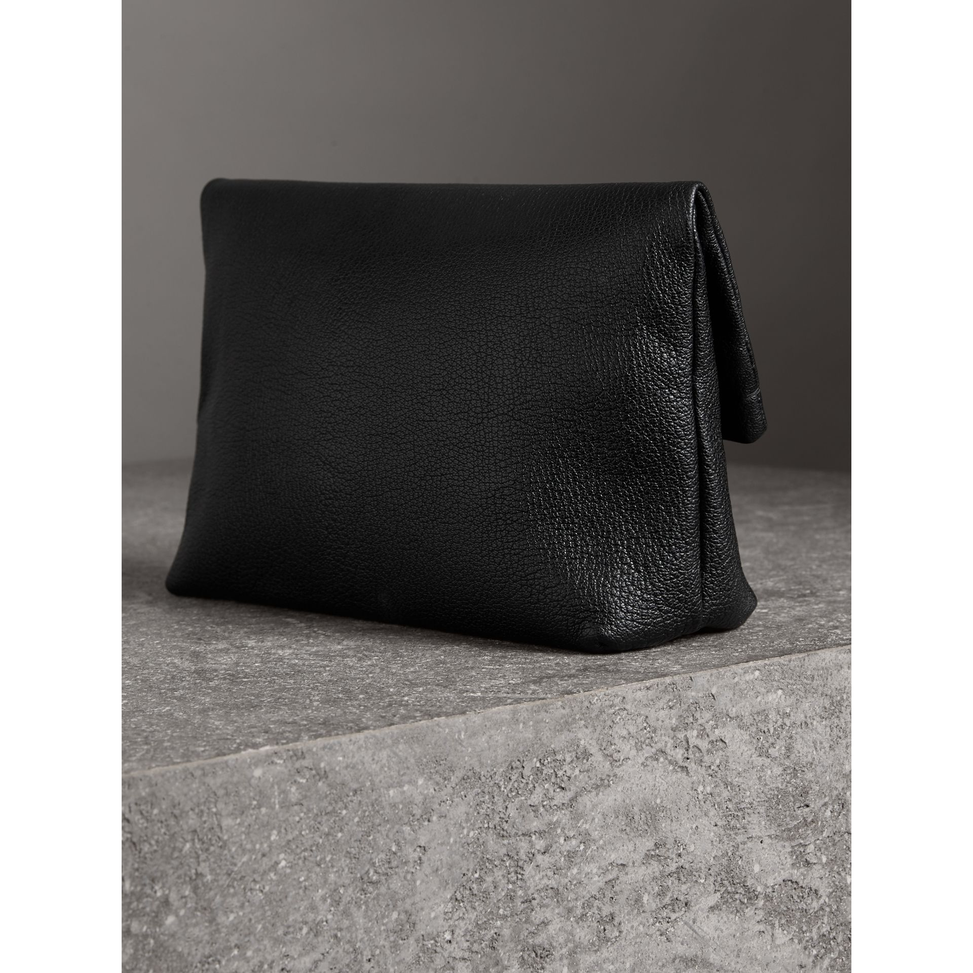The Medium Pin Clutch in Leather in Black - Women | Burberry - gallery image 4