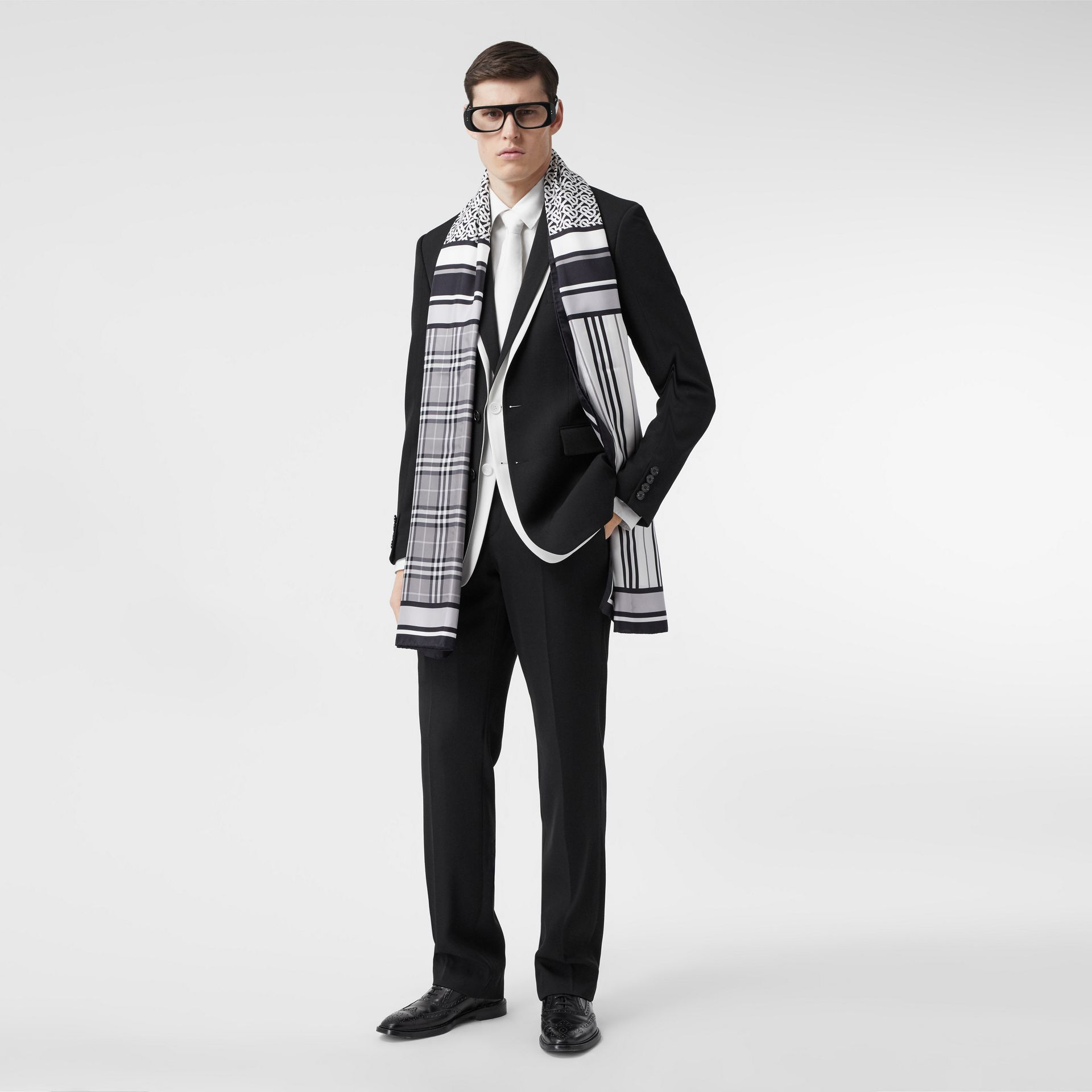 Monogram, Icon Stripe and Check Print Silk Scarf in Monochrome | Burberry - gallery image 7