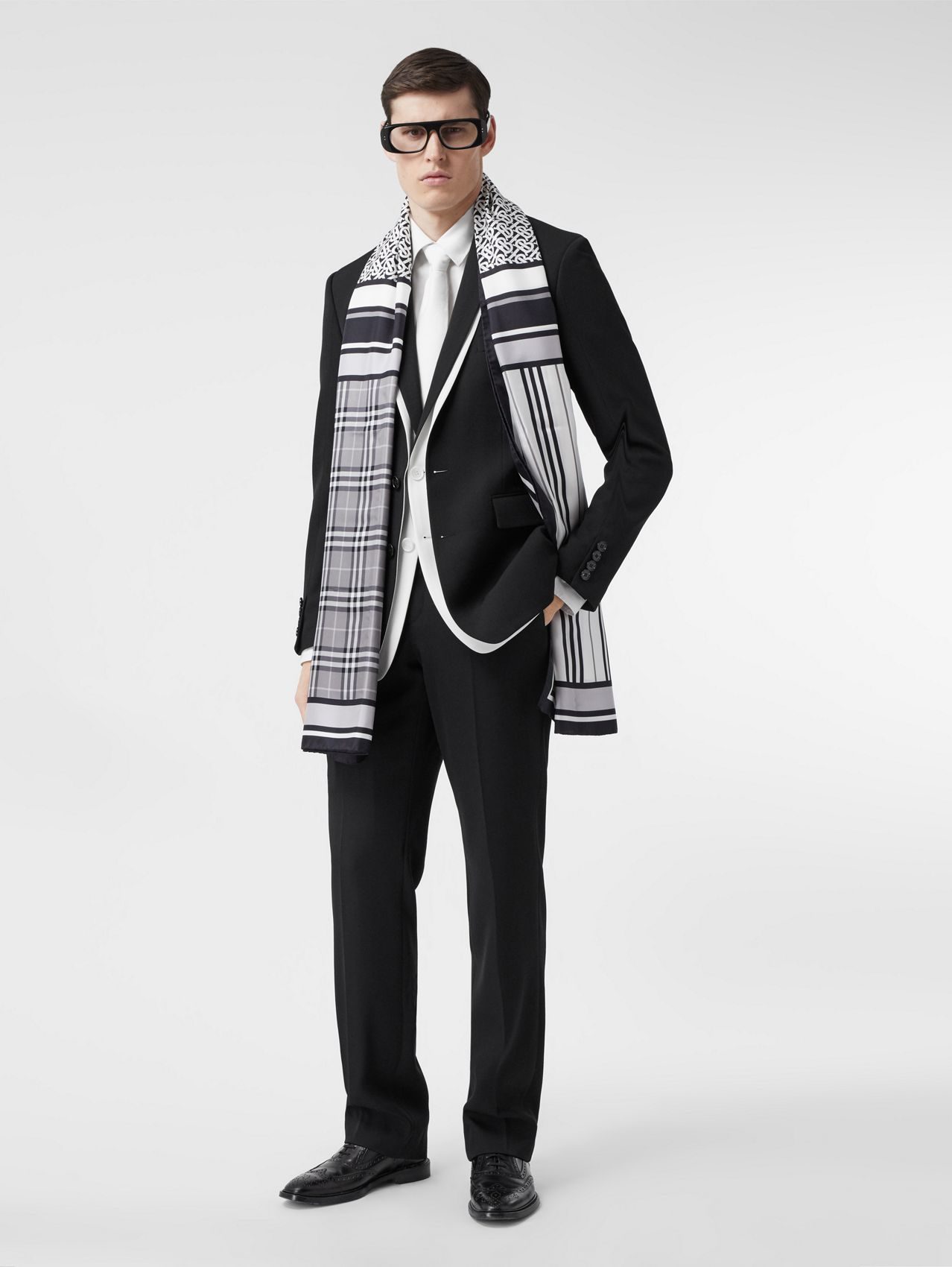 Monogram, Icon Stripe and Check Print Silk Scarf in Monochrome