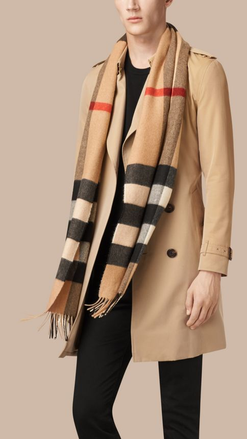 Camel check Giant Exploded Check Cashmere Scarf Camel - Image 4