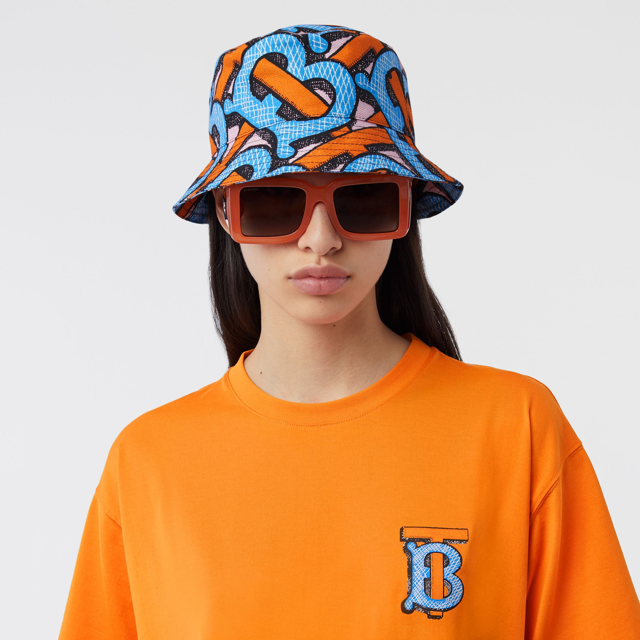 Monogram Print Cotton Canvas Bucket Hat in Bright Cobalt | Burberry Singapore - 3