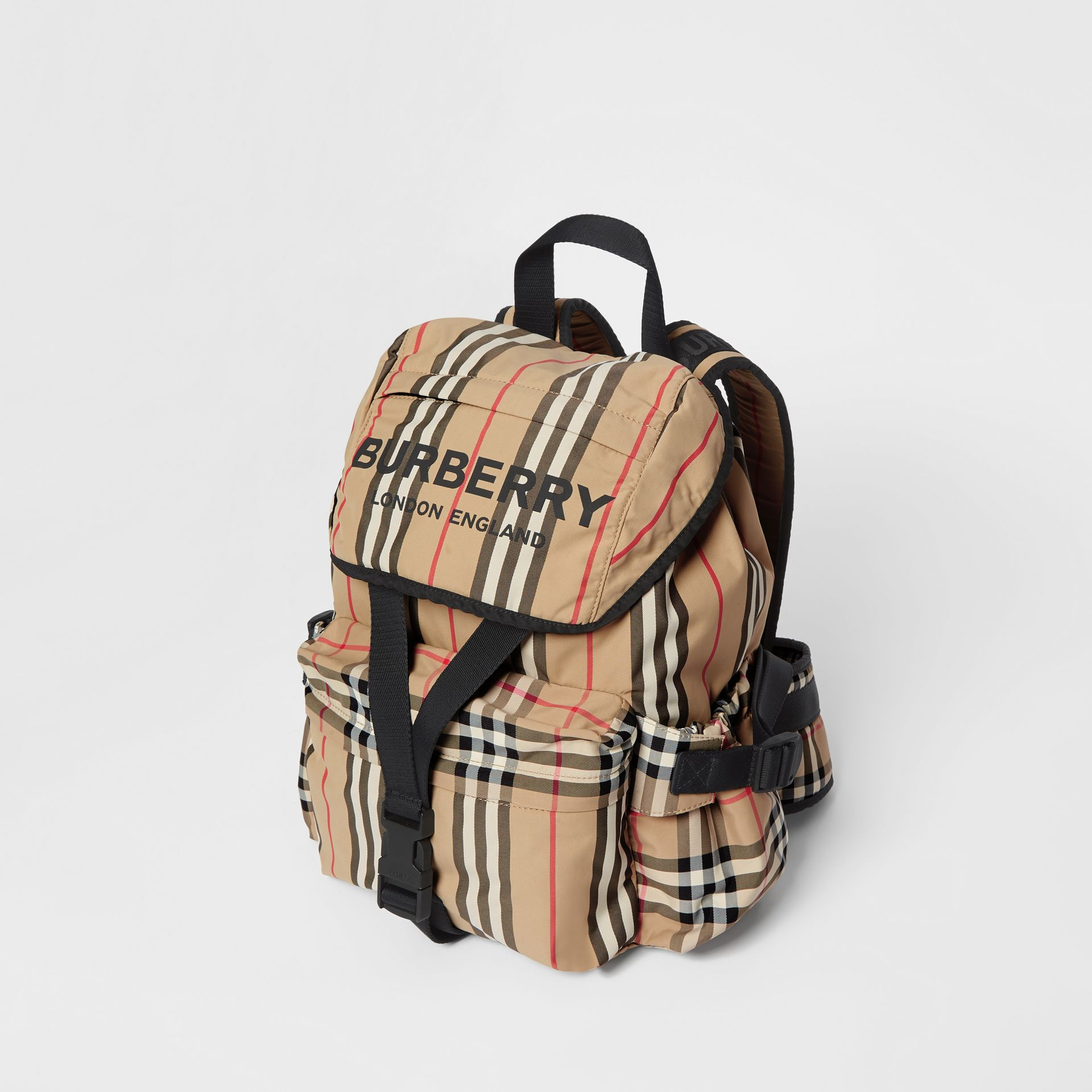 Logo Print Icon Stripe Nylon Backpack in Archive Beige - Women | Burberry United Kingdom - gallery image 3