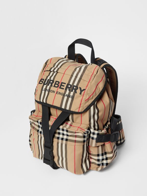 Logo Print Icon Stripe Nylon Backpack in Archive Beige - Women | Burberry United Kingdom - cell image 3