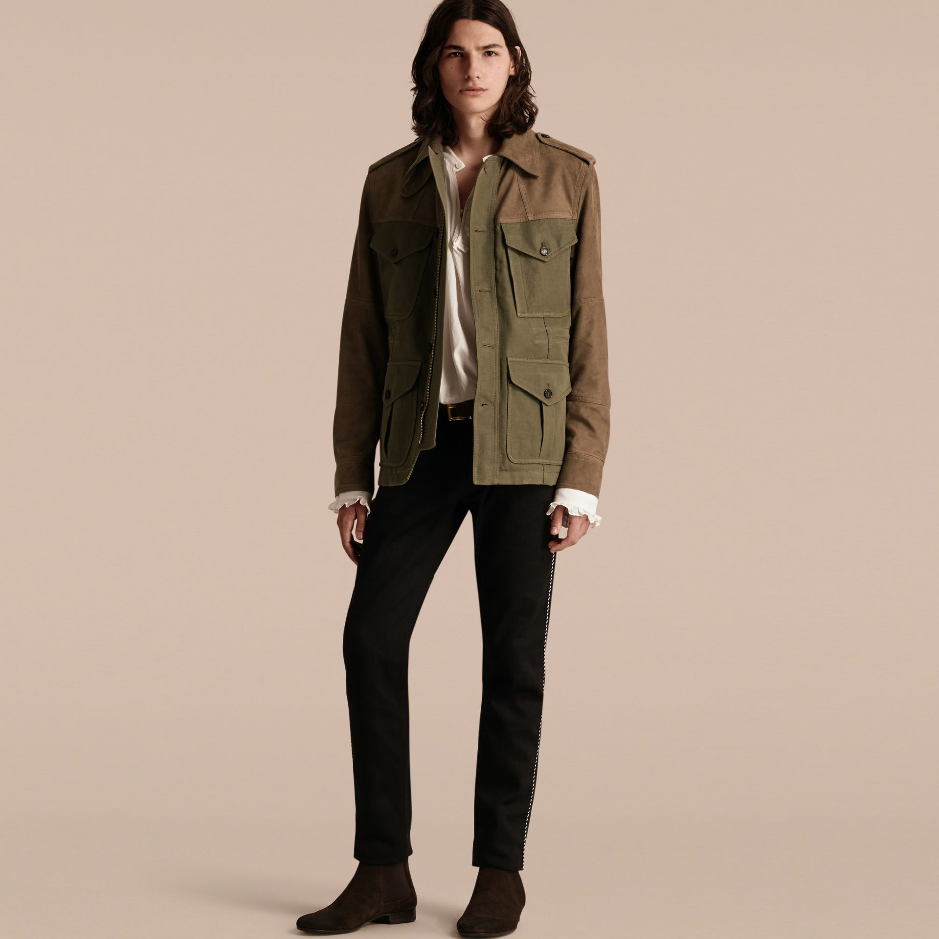 Military green Ramie Cotton and Suede Field Jacket - gallery image 1