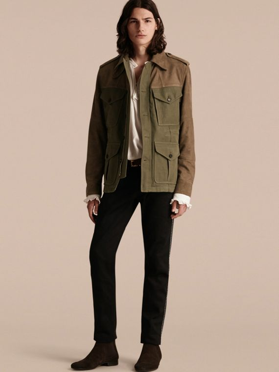 Ramie Cotton and Suede Field Jacket