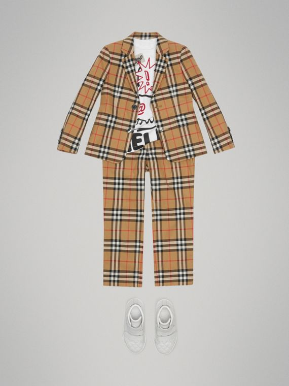 Vintage Check Cotton Blazer in Antique Yellow - Boy | Burberry - cell image 2