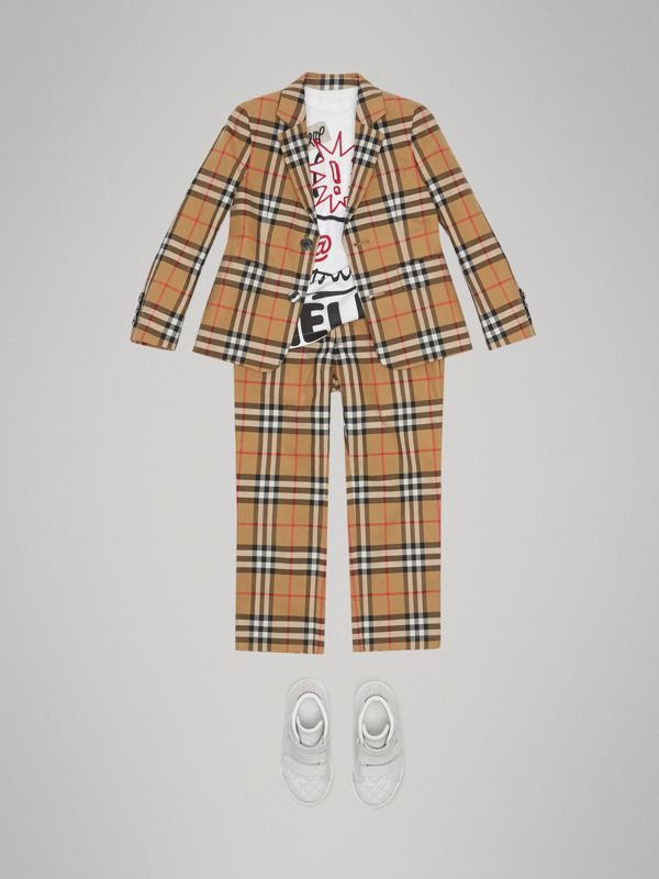 Vintage Check Cotton Blazer in Antique Yellow | Burberry Australia - cell image 2