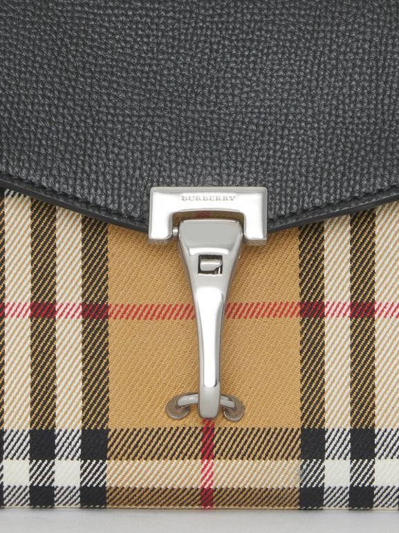 Mini Leather and Vintage Check Crossbody Bag in Black - Women | Burberry - cell image 1