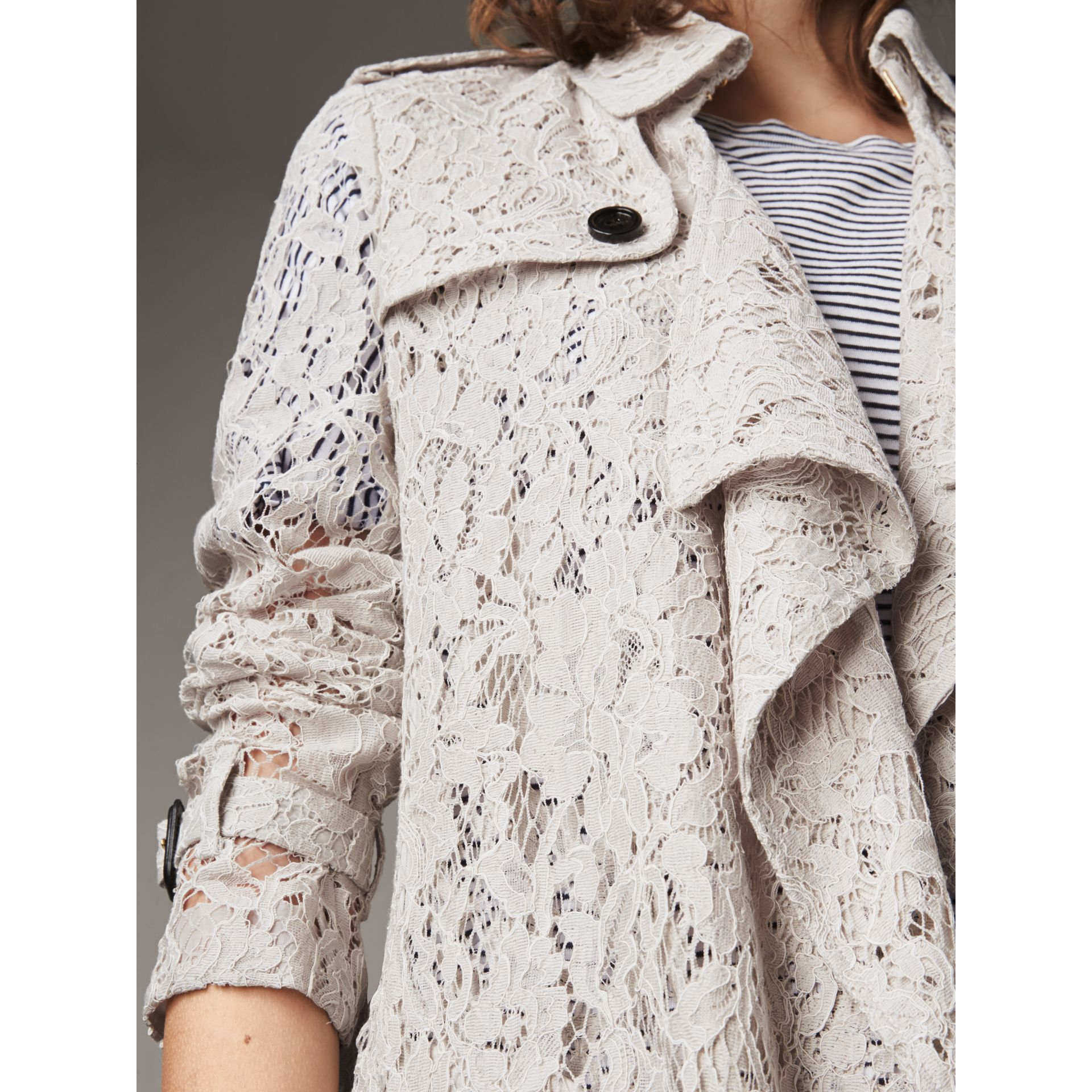 Macramé Lace Trench Coat in Pale Grey - Women | Burberry - gallery image 2