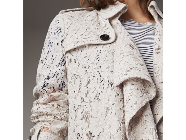 Macramé Lace Trench Coat in Pale Grey - cell image 1