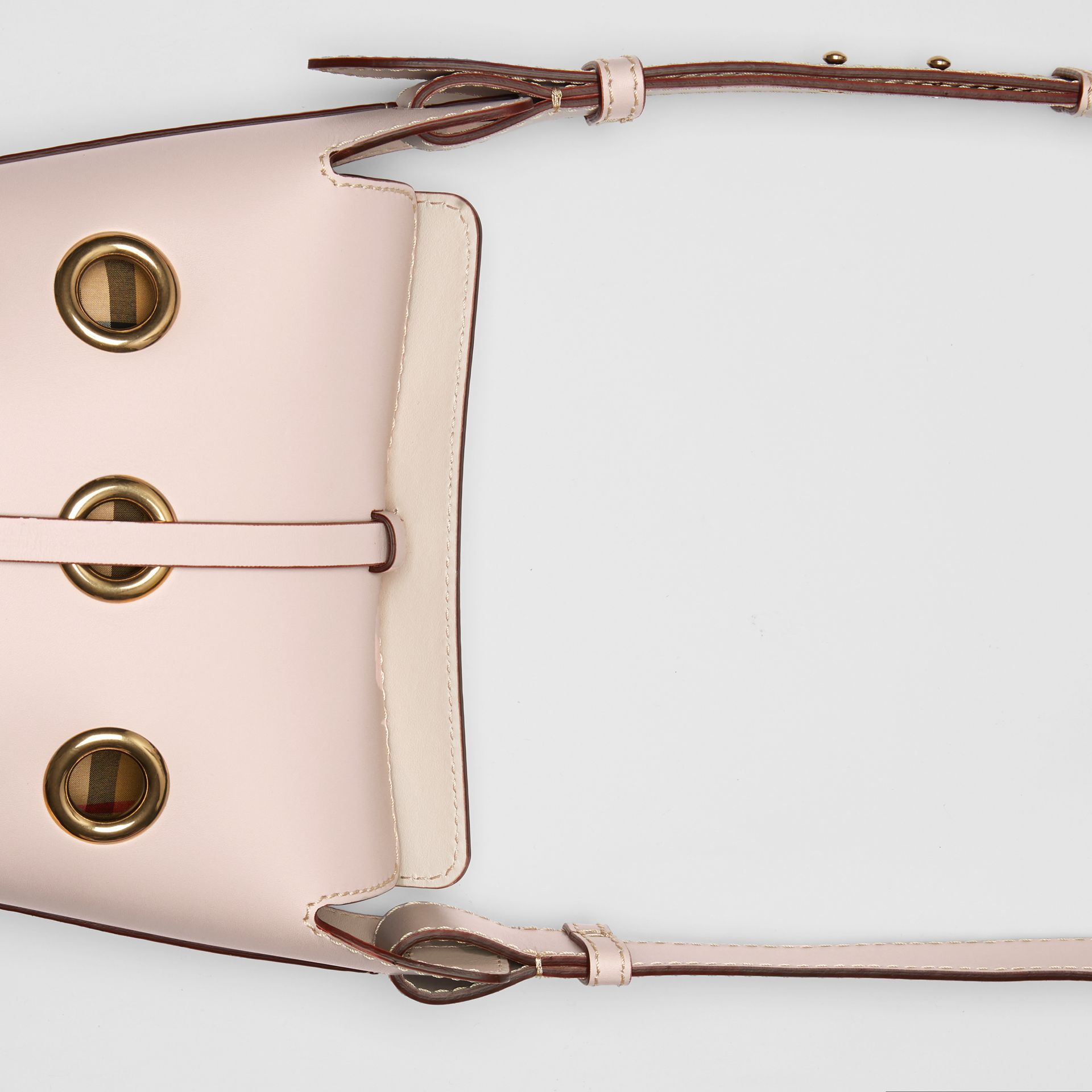 The Mini Bucket Bag in Grommeted Leather in Chalk Pink - Women | Burberry - gallery image 1