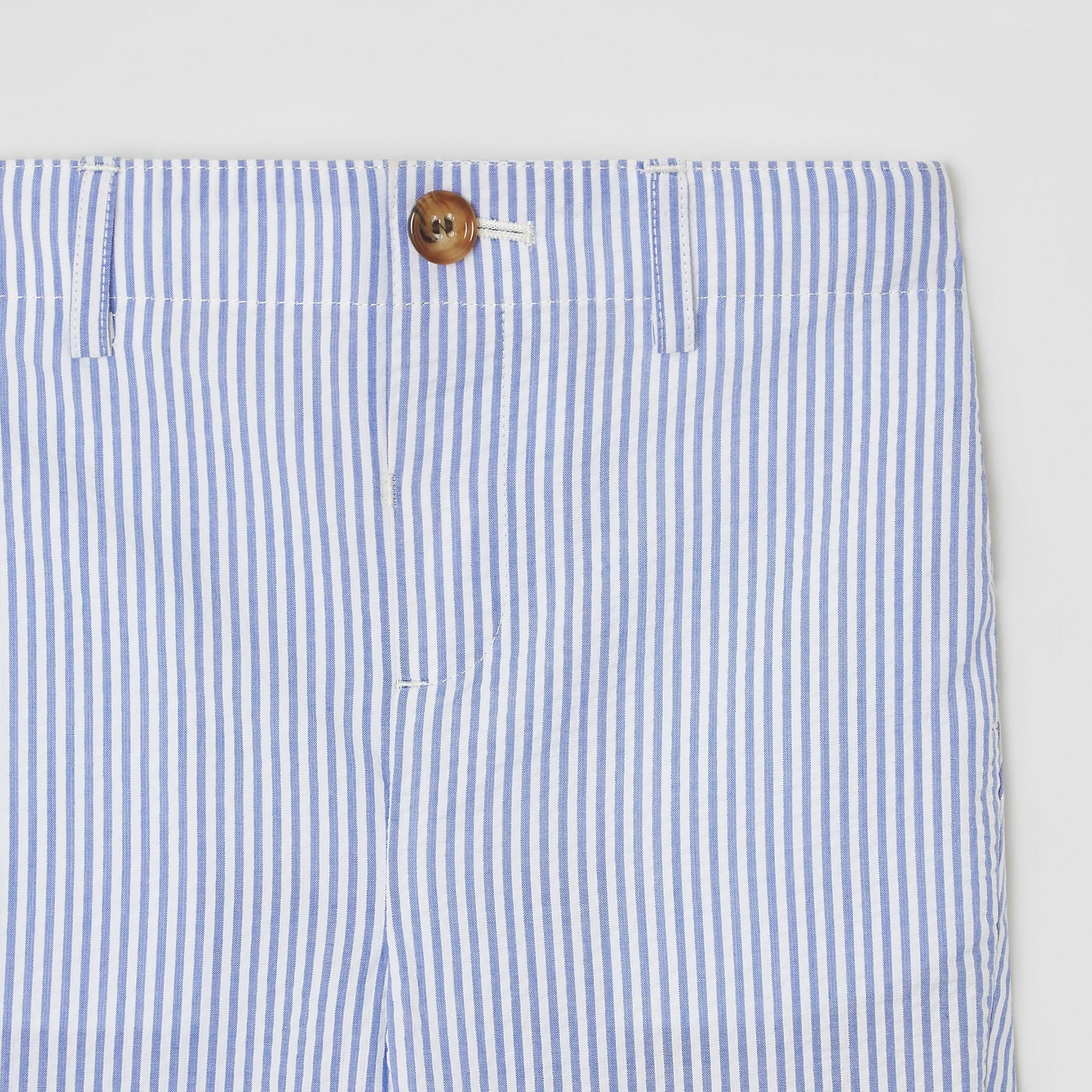 Striped Cotton Seersucker Tailored Trousers in Cornflower Blue - Children | Burberry - gallery image 4
