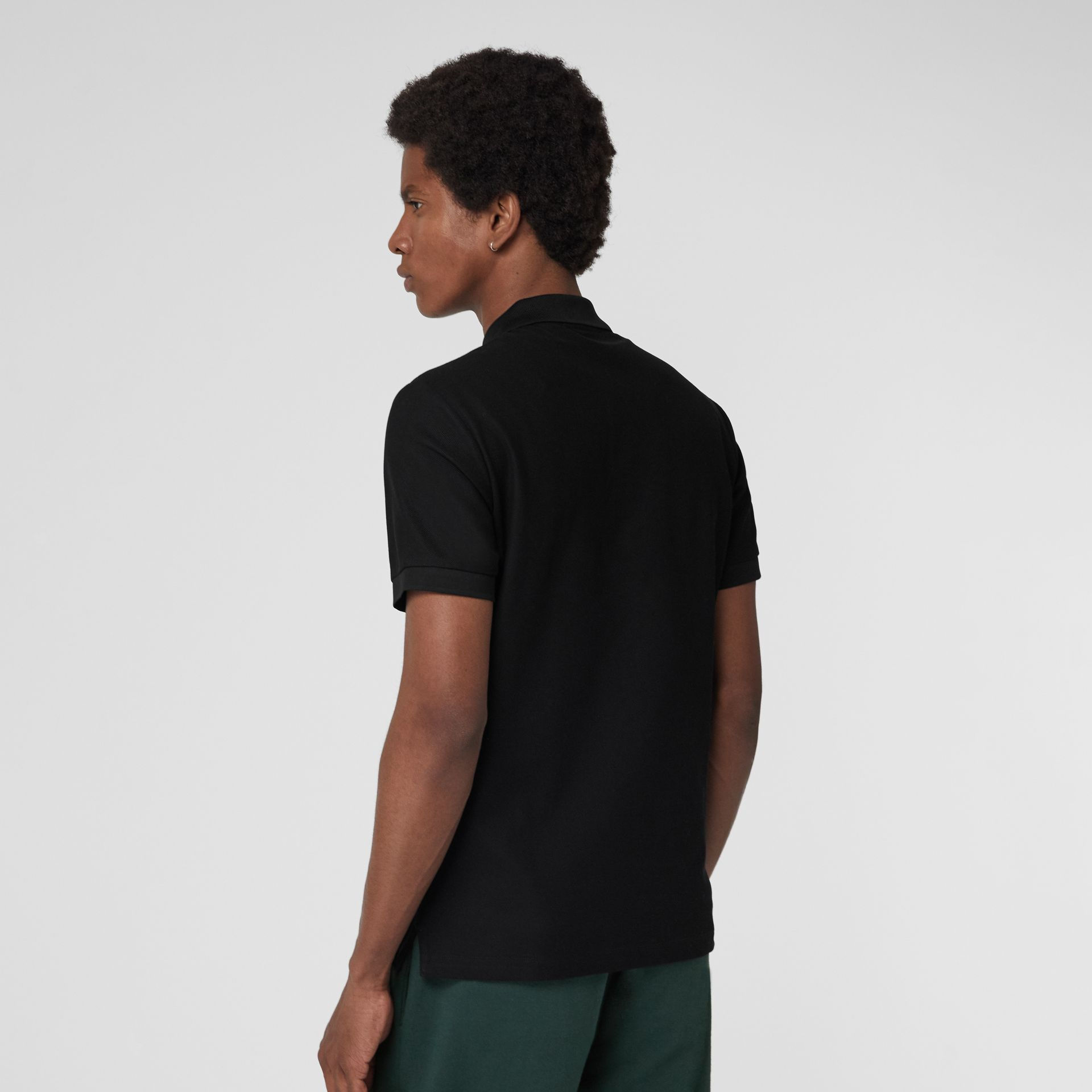 Archive Logo Cotton Piqué Polo Shirt in Black - Men | Burberry Australia - gallery image 2